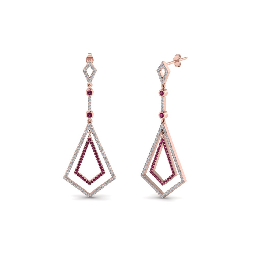 art deco diamond dangle earring with pink sapphire in 14K rose gold FDEAR8434GSADRPI NL RG