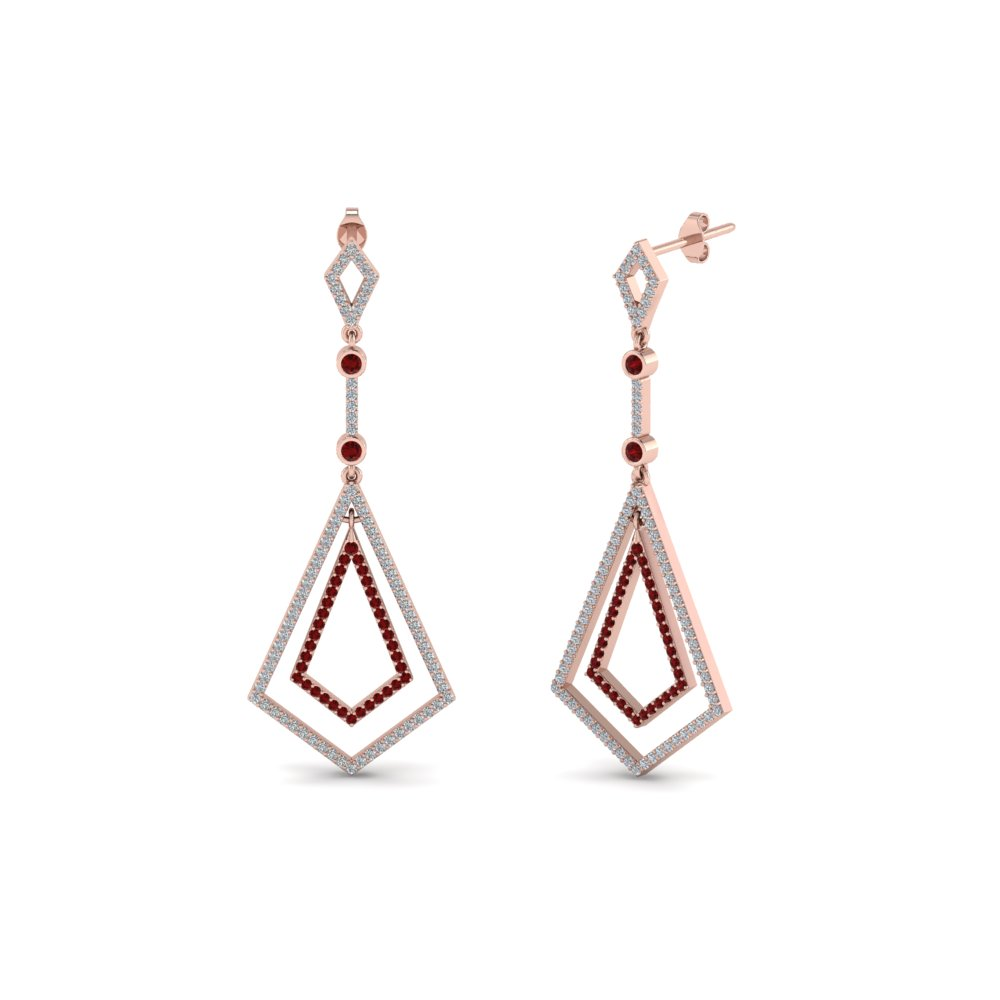 Art Deco Ruby Dangle Earring
