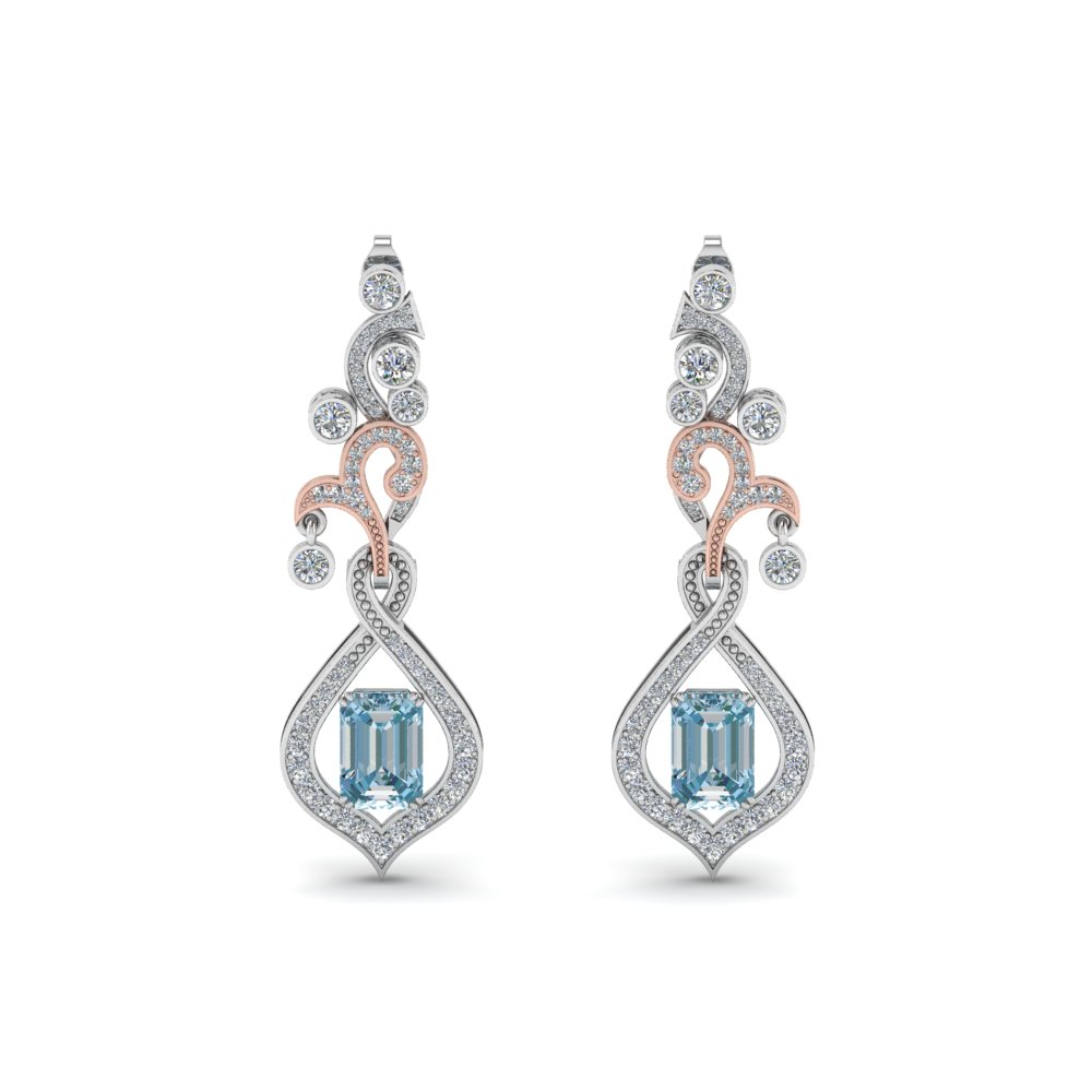 Platinum Drop Topaz Earring