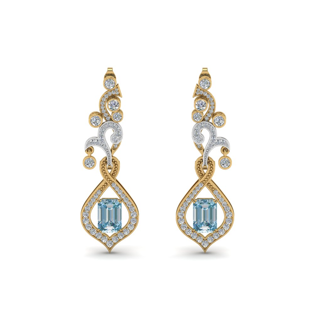 2 Tone Diamond Drop Earring