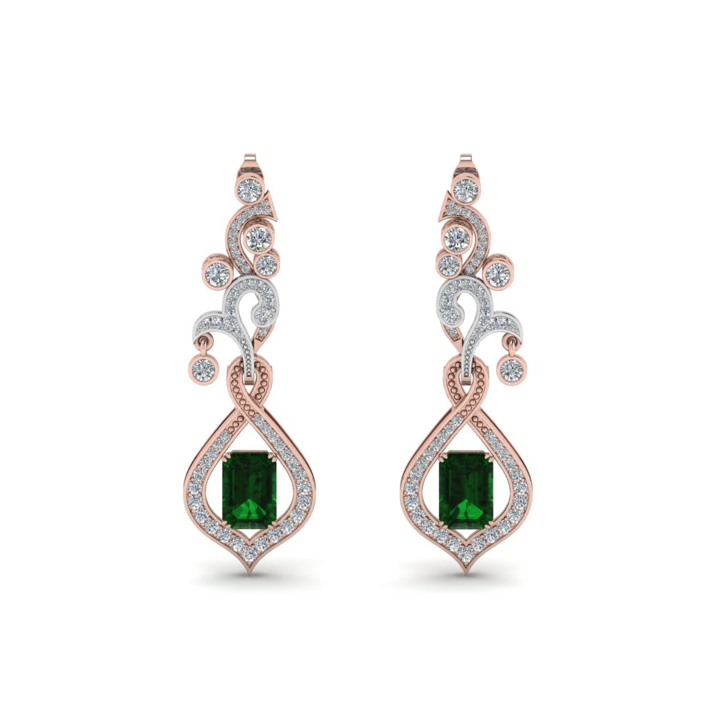 art deco diamond drop earring with emerald in 18K rose gold FDEAR8560GEMANGLE1 NL RG