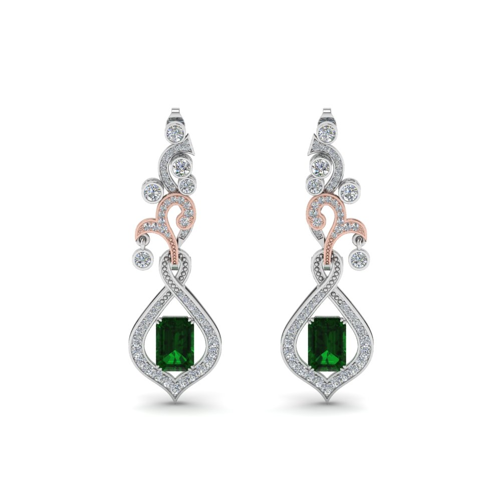 art deco diamond drop earring with emerald in 14K white gold FDEAR8560GEMANGLE1 NL WG