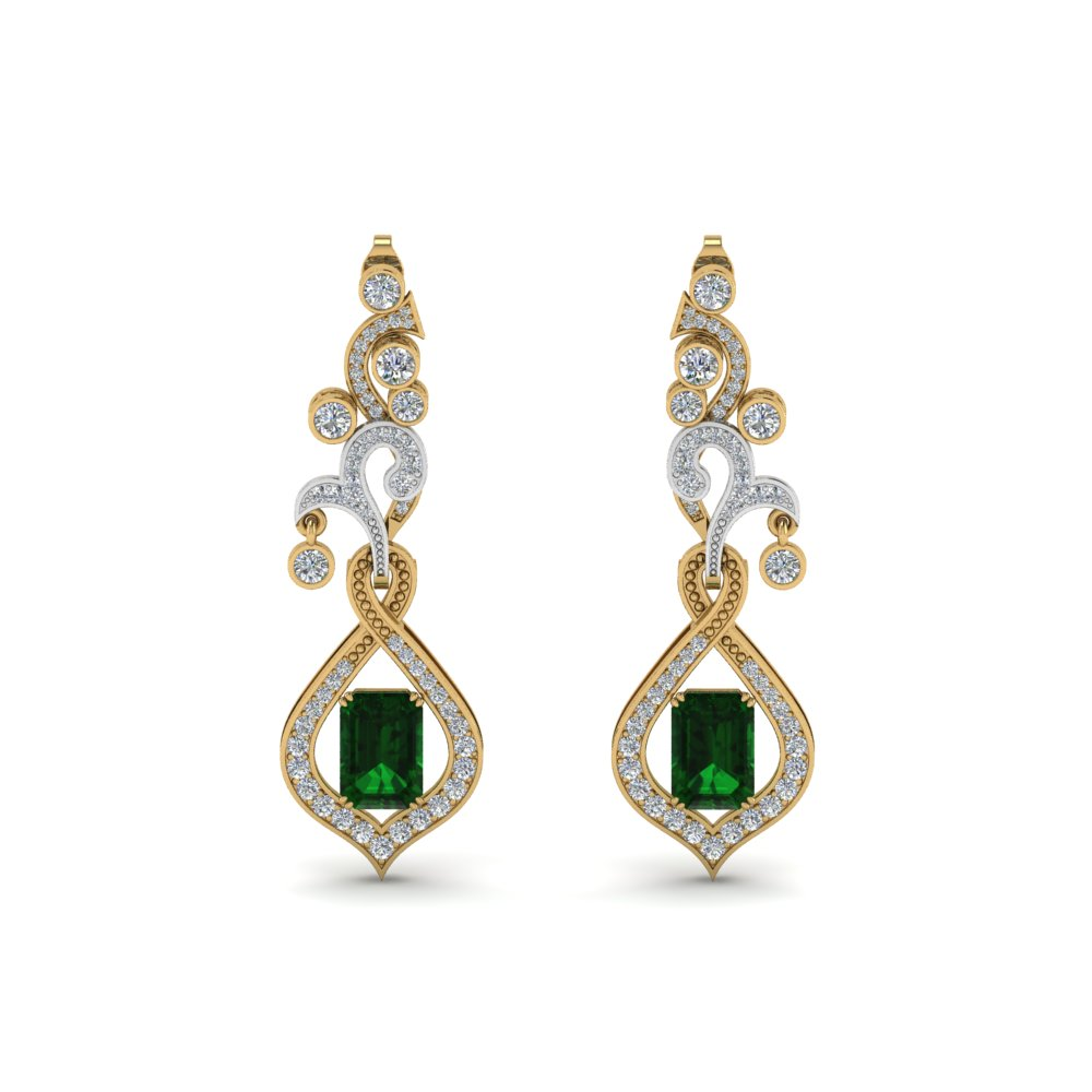 Bezel Set Earrings With Emerald