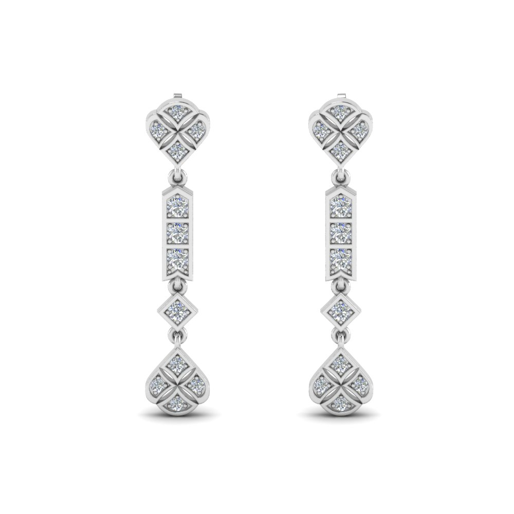 art deco diamond earring in 14K white gold FDEAR8475ANGLE1 NL WG