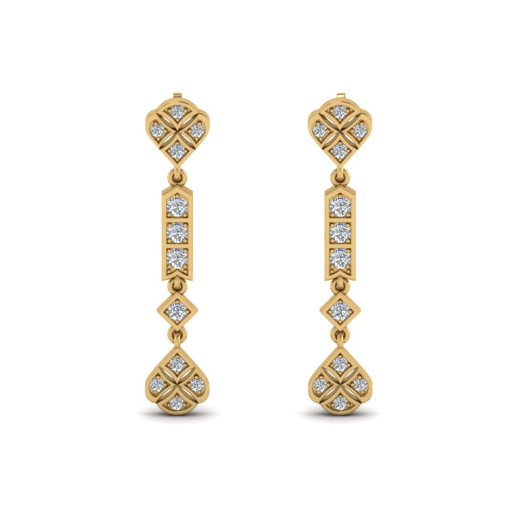 art deco diamond earring in FDEAR8475ANGLE1 NL YG