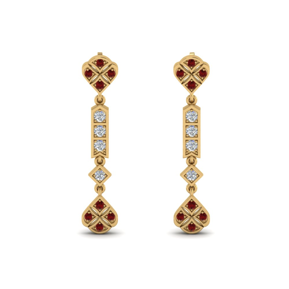 art deco diamond earring with ruby in 14K yellow gold FDEAR8475GRUDRANGLE1 NL YG