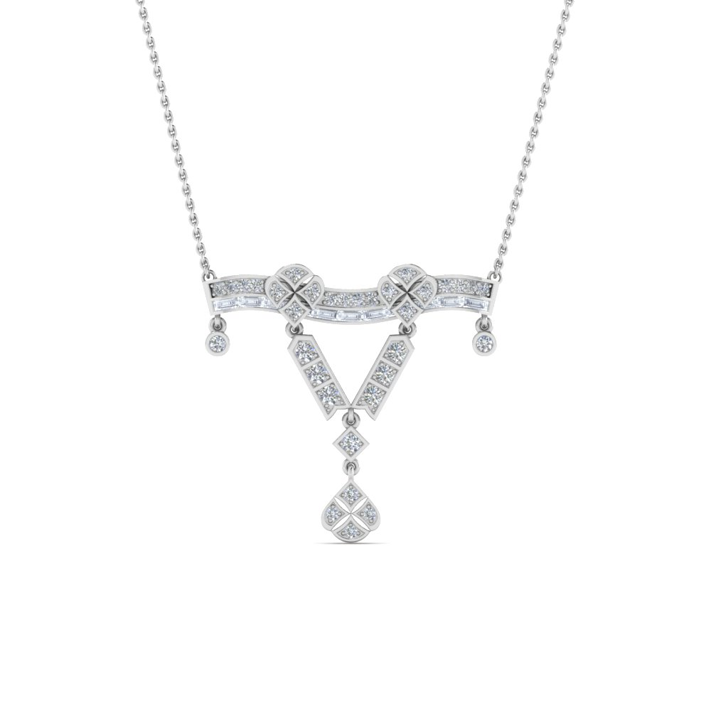 Art Deco Diamond Necklace Pendant In 14K White Gold