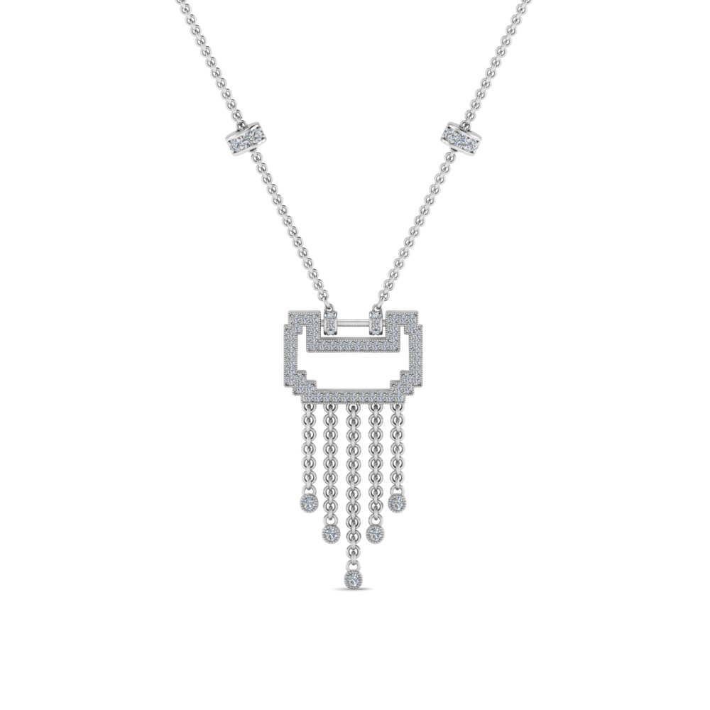 art deco drop diamond necklace in FDPD8601ANGLE1 NL WG