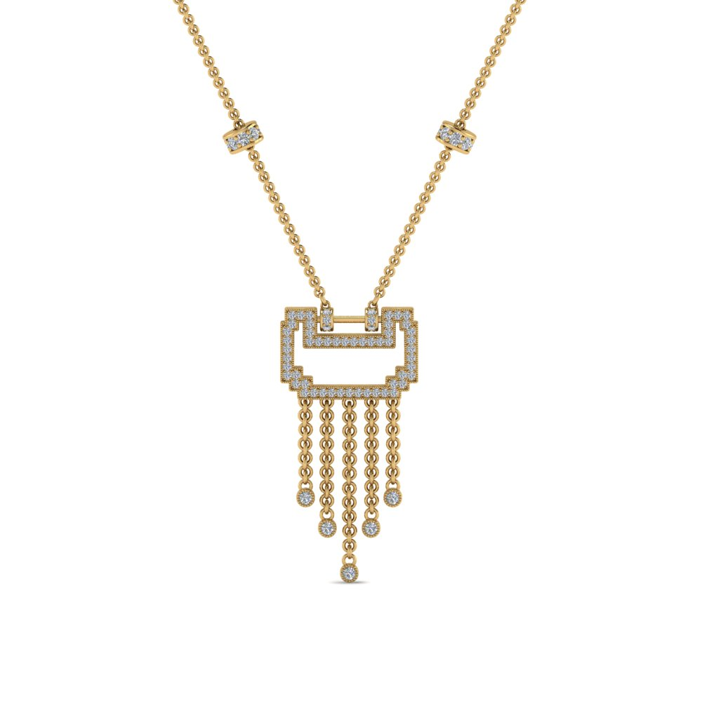 art deco drop diamond necklace in FDPD8601ANGLE1 NL YG