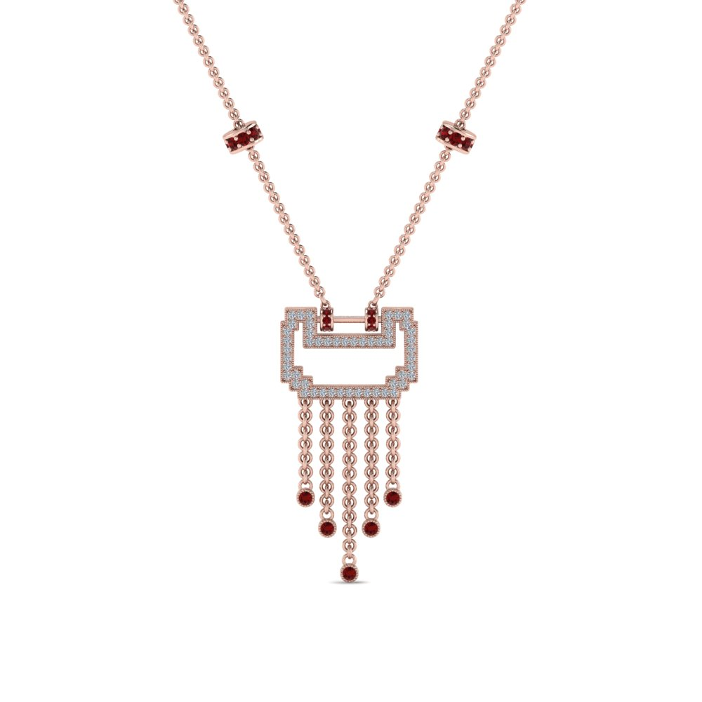 art deco drop diamond necklace with ruby in FDPD8601GRUDRANGLE1 NL RG