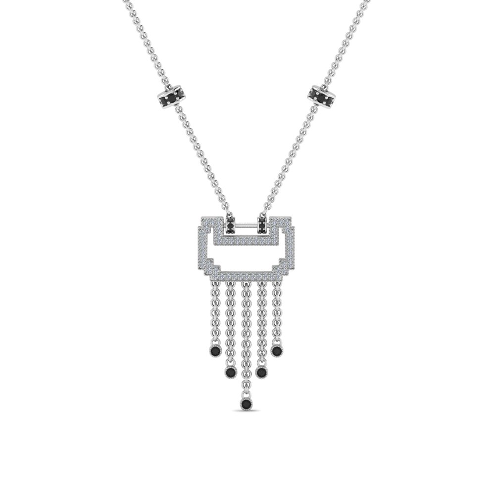 art deco drop necklace with black diamond in FDPD8601GBLACKANGLE1 NL WG