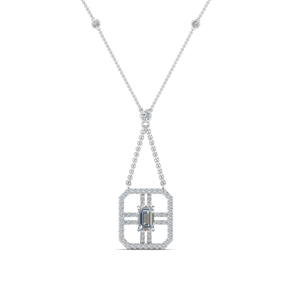 art deco emerald cut diamond pendant in FDPD8450ANGLE2 NL WG