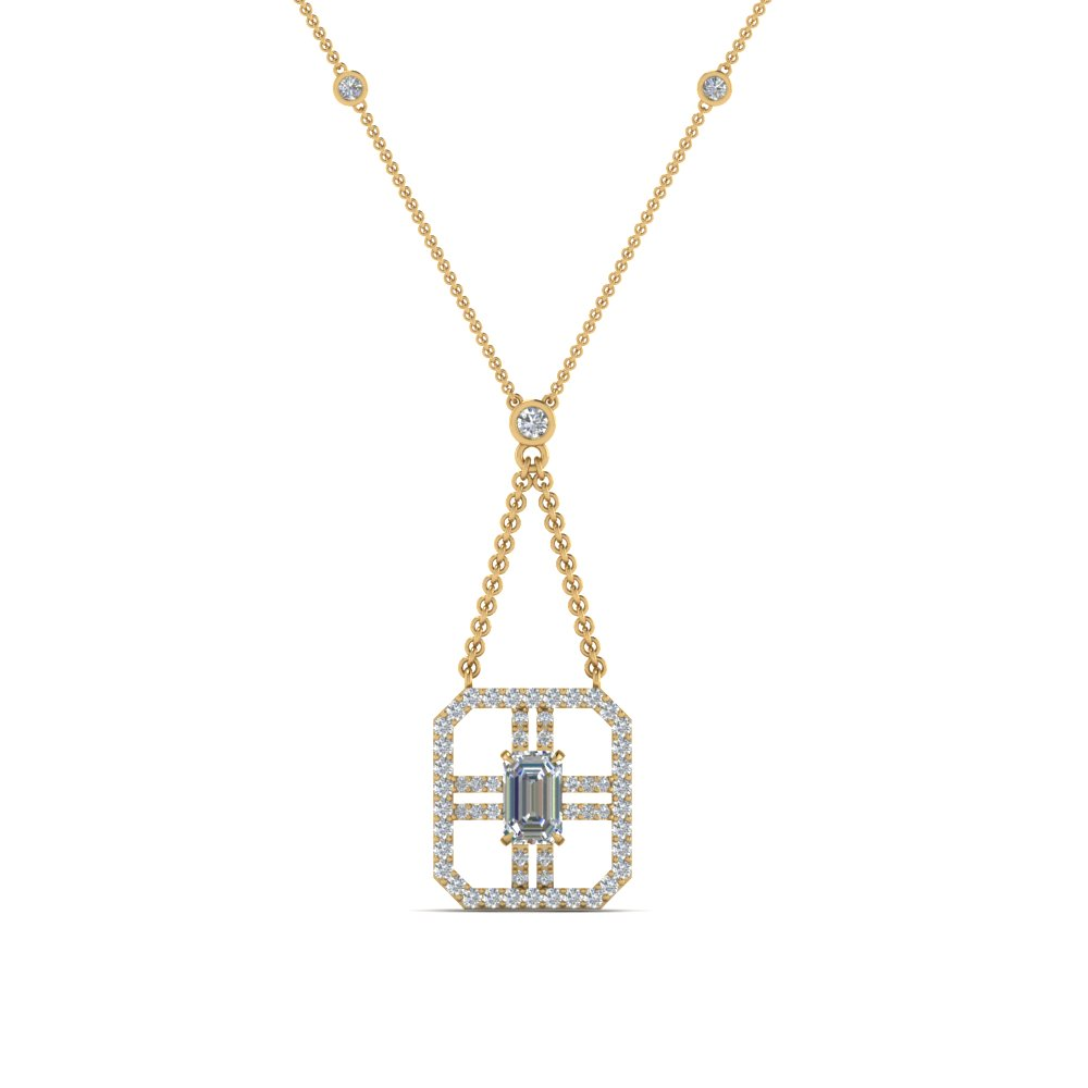 art deco emerald cut diamond pendant in FDPD8450ANGLE2 NL YG