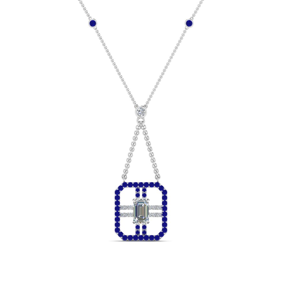 art deco emerald cut diamond pendant with blue sapphire in FDPD8450GSABLANGLE2 NL WG