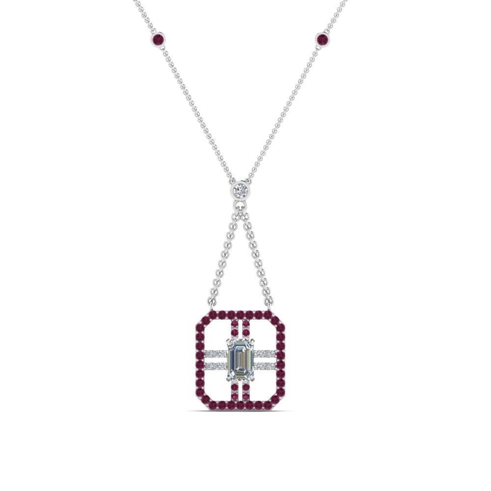 Art Deco Emerald Cut Diamond Pendant