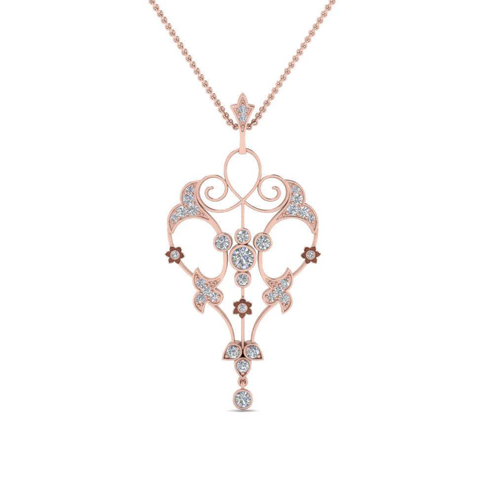 art deco filigree diamond necklace in FDPD8600ANGLE2 NL RG