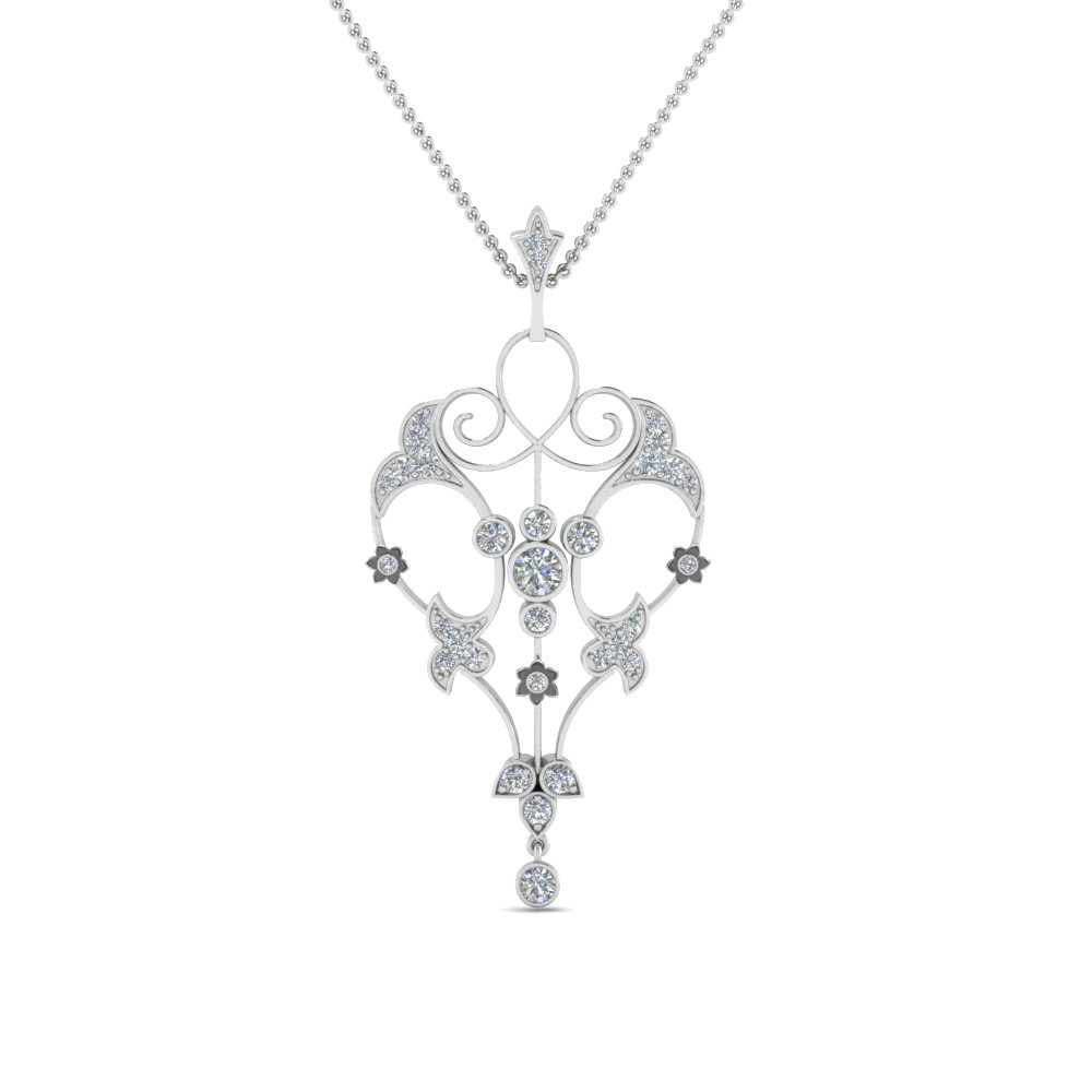Filigree Diamond Drop Necklace