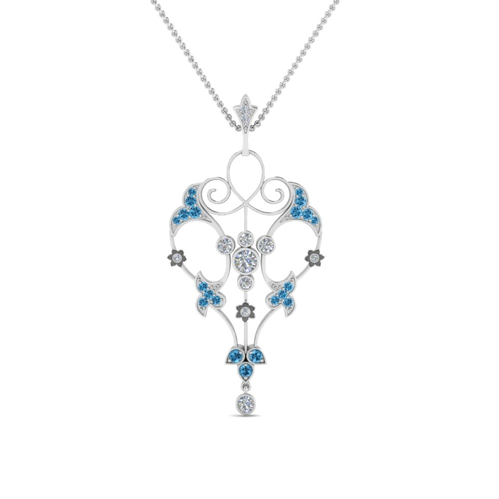 Topaz Art Deco Pendant Necklace