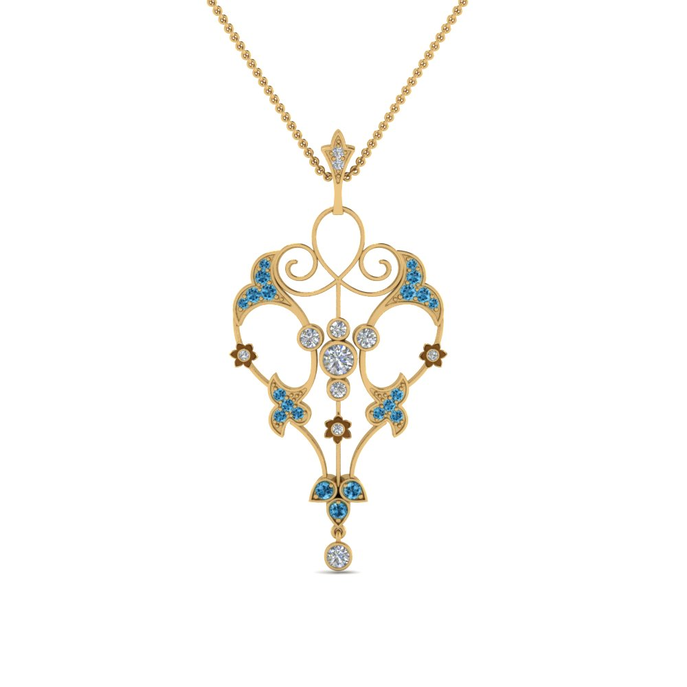art deco filigree diamond necklace with blue topaz in FDPD8600GICBLTOANGLE2 NL YG