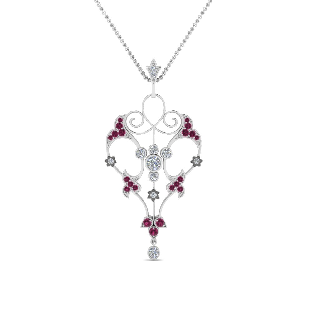 art deco filigree diamond necklace with pink sapphire in FDPD8600GSADRPIANGLE2 NL WG