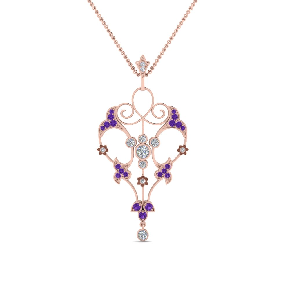 Filigree Purple Topaz Pendant