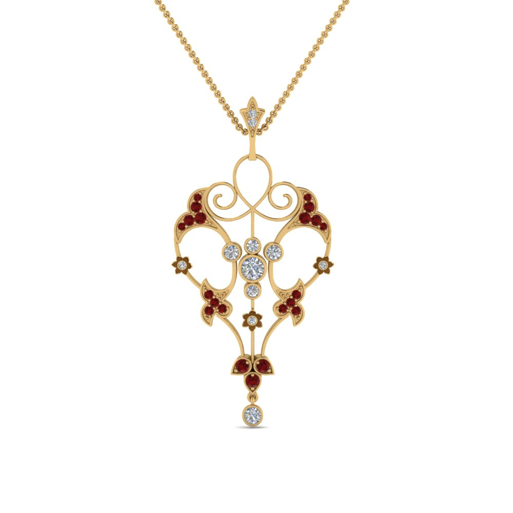 art deco filigree diamond necklace with ruby in FDPD8600GRUDRANGLE2 NL YG