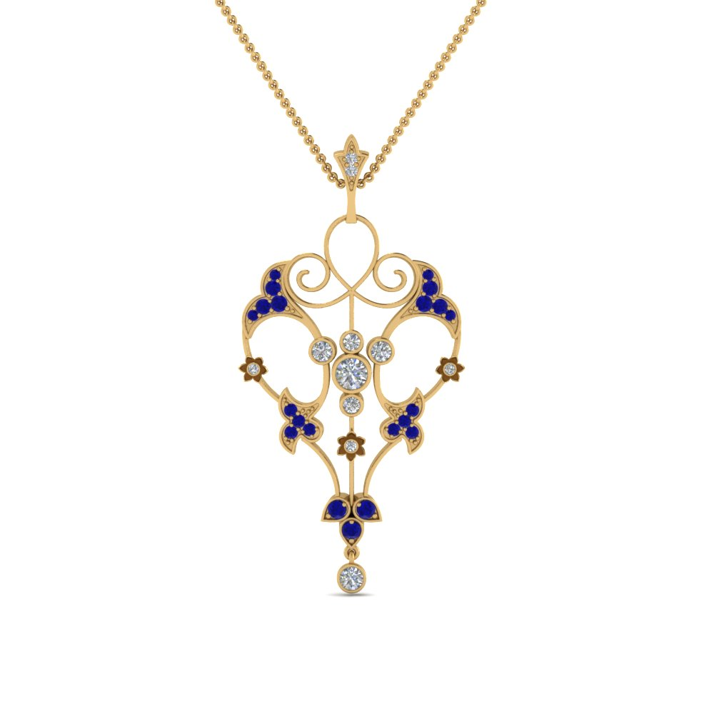 art deco filigree diamond necklace with sapphire in FDPD8600GSABLANGLE2 NL YG