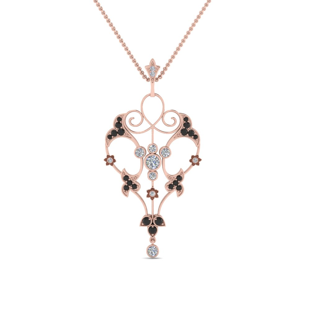Art Deco Filigree Black Diamond Necklace