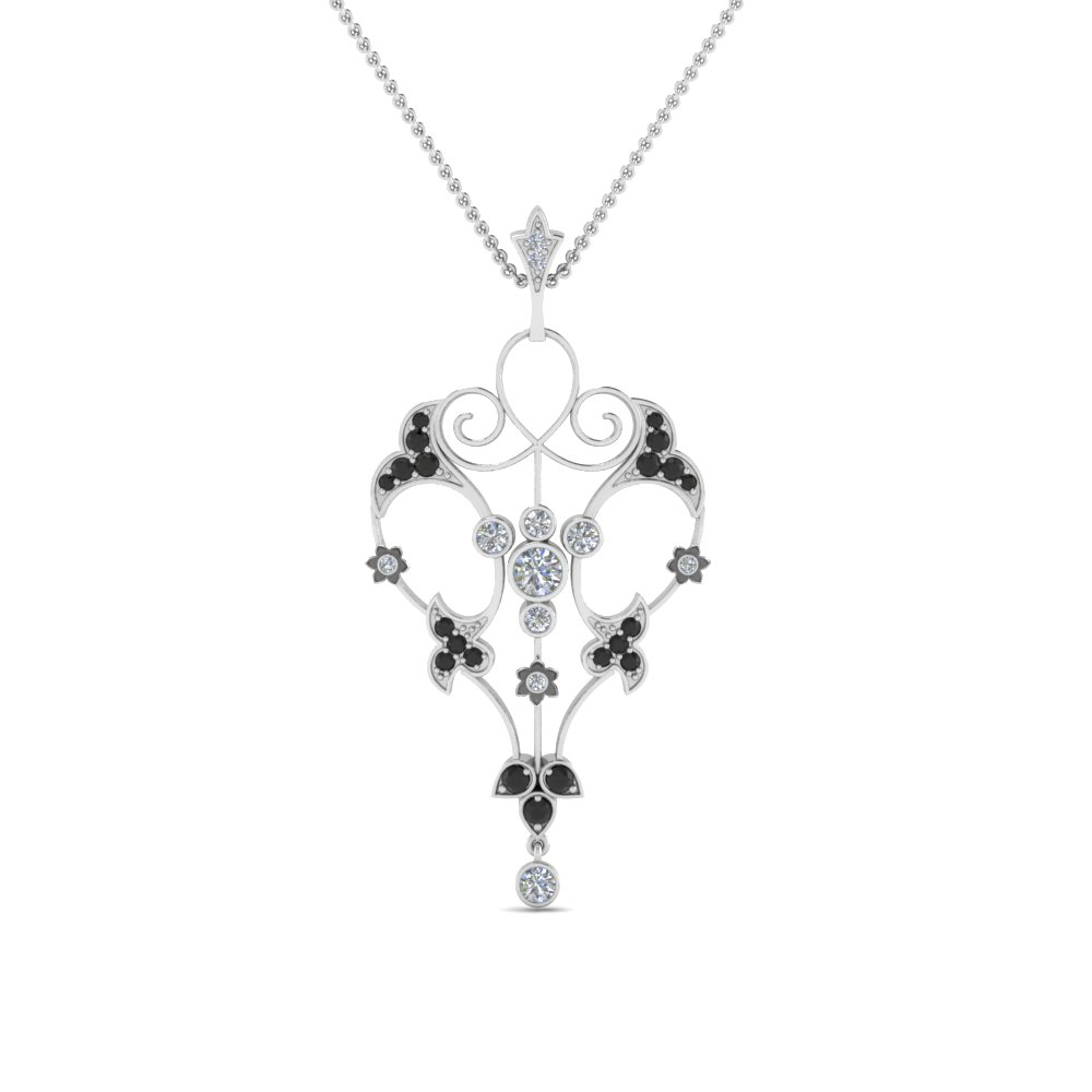 art deco filigree necklace with black diamond in FDPD8600GBLACKANGLE2 NL WG