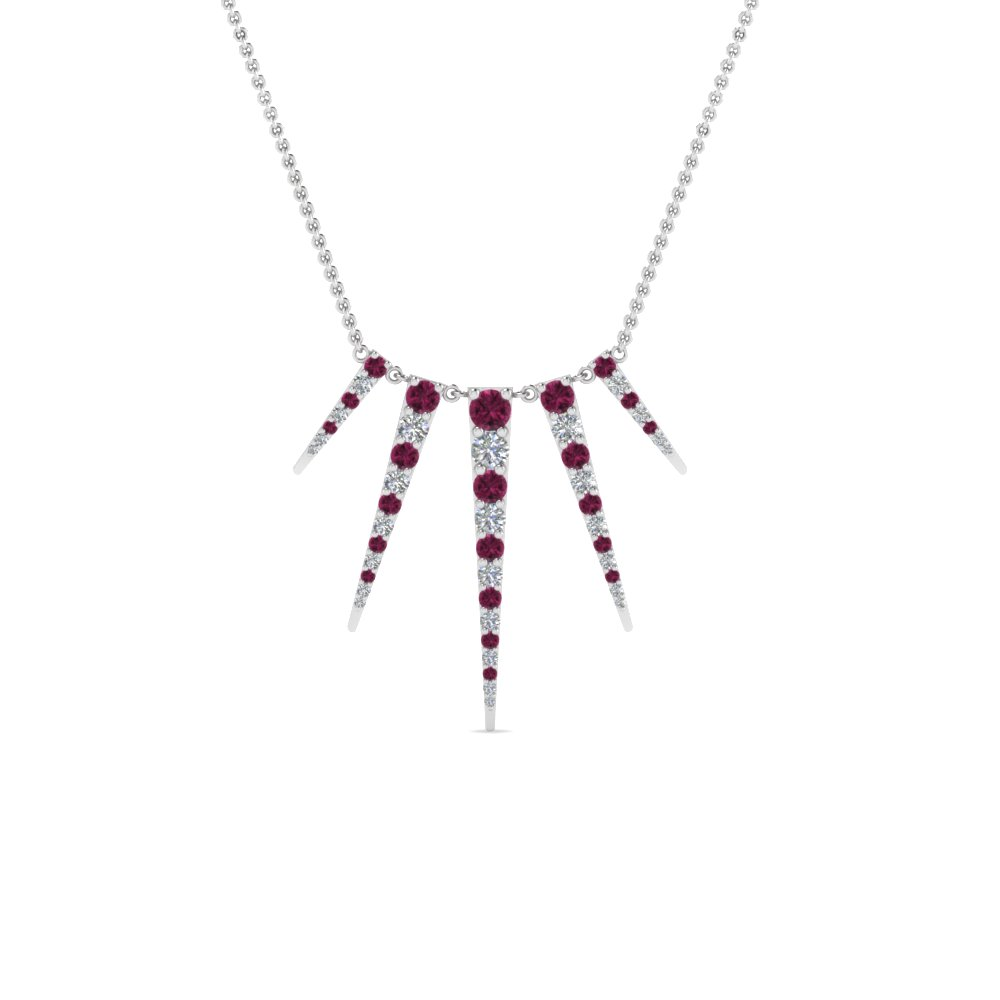 art deco graduated diamond necklace with pink sapphire in FDPD8435GSADRPIANGLE2 NL WG