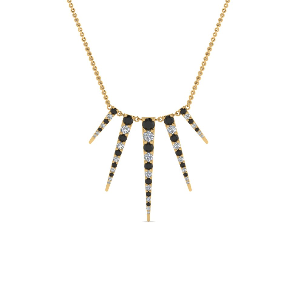 Art Deco Graduated Black Diamond Necklace