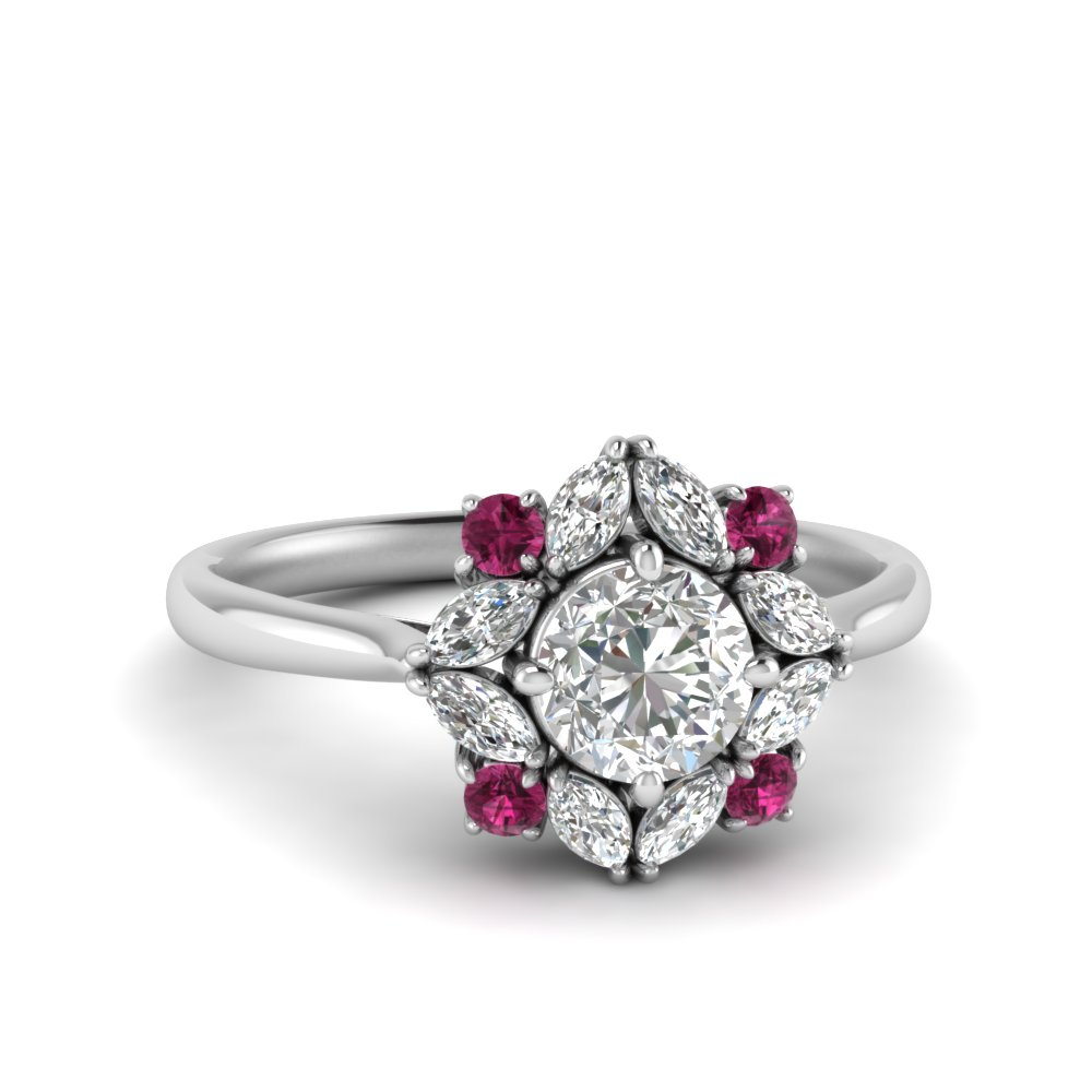 art-deco-halo-moissanite-engagement-ring-with-pink-sapphire-in-FD123772RORGSADRPI-NL-WG
