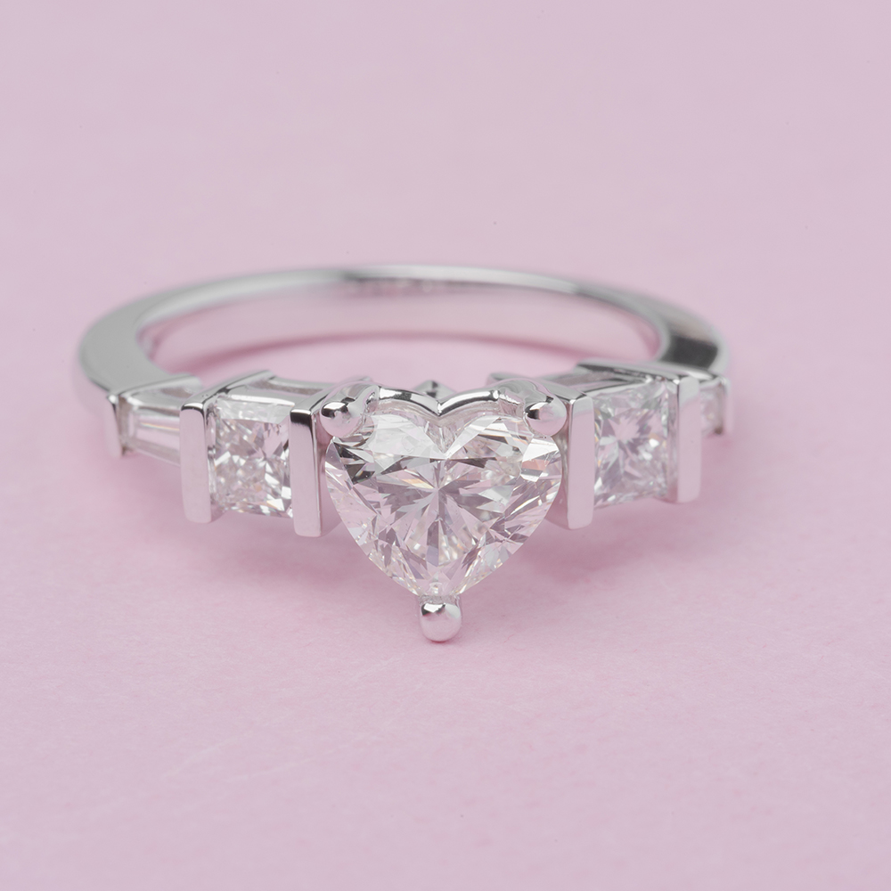 art deco heart diamond wedding ring in 14K white gold FDENR2752HTRANGLE5