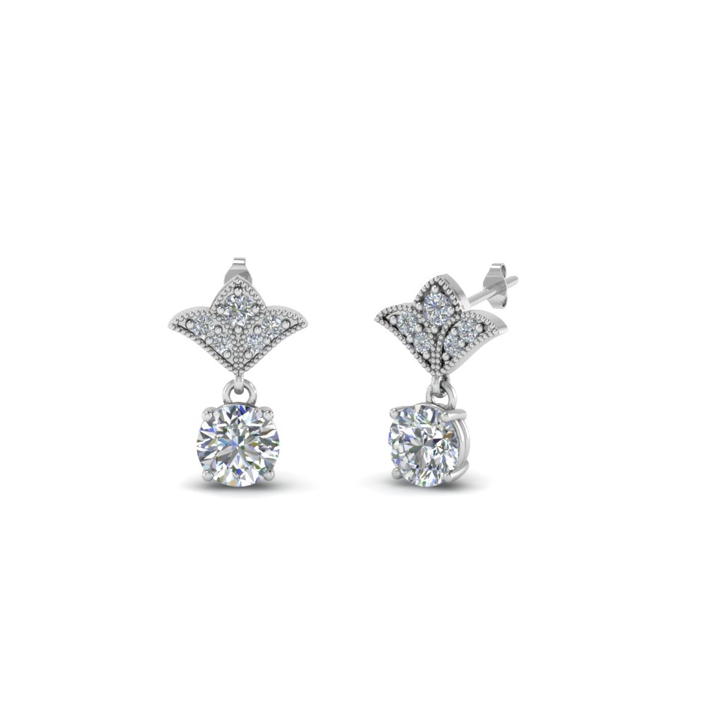art deco inspired round drop earring in FDEAR8425 0.25CT NL WG