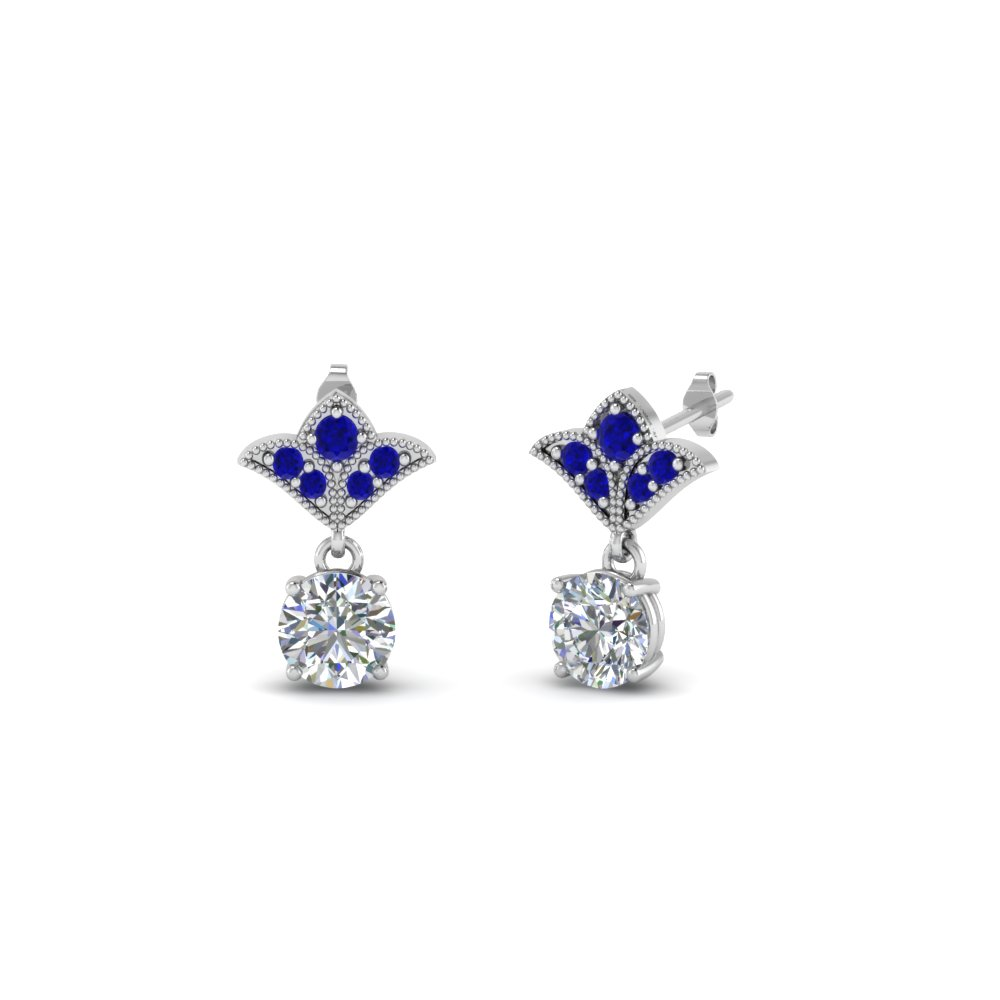 art deco inspired round drop earring with blue sapphire in 14K white gold FDEAR8425 0.25CTGSABL NL WG