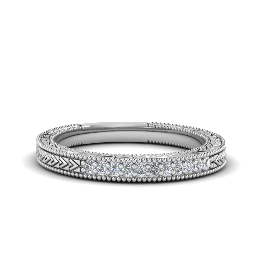 art deco pave diamond wedding band in FDENS3033B NL WG