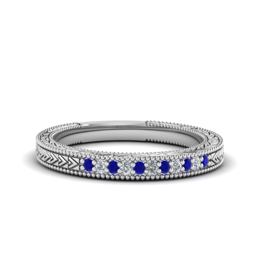 Art Deco Pave Sapphire Wedding Band