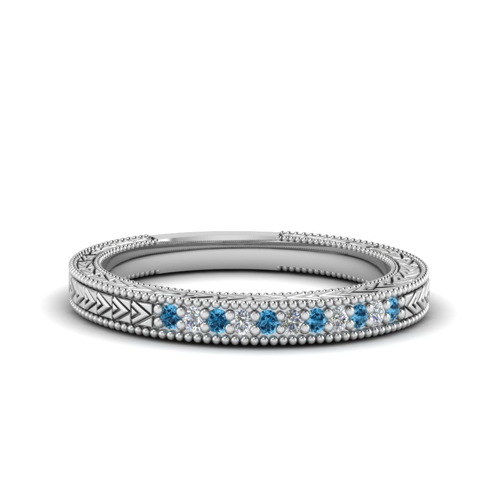164f6efd9 0.10 Ct. Art Deco Pave Diamond Wedding Band Womens Wedding Bands with Ice  Blue Topaz in 14K White Gold