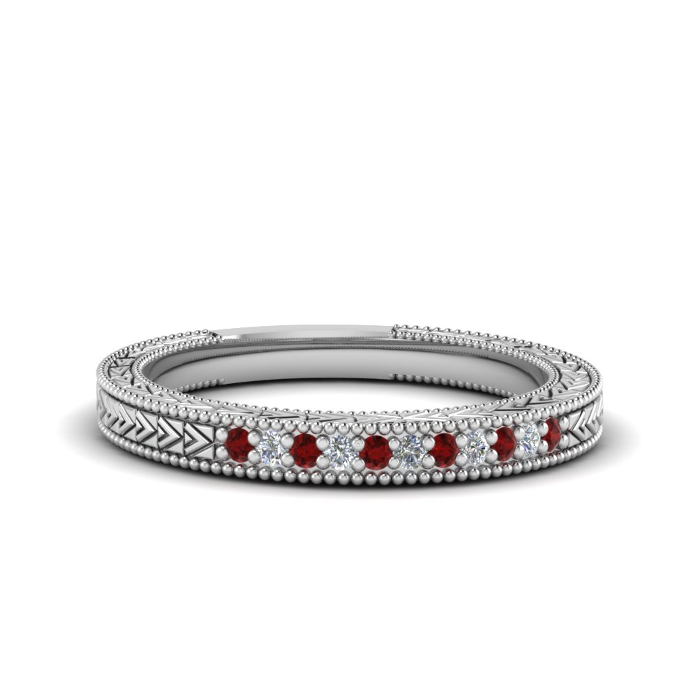 0.10 Ct. Art Deco Ruby Milgrain Band