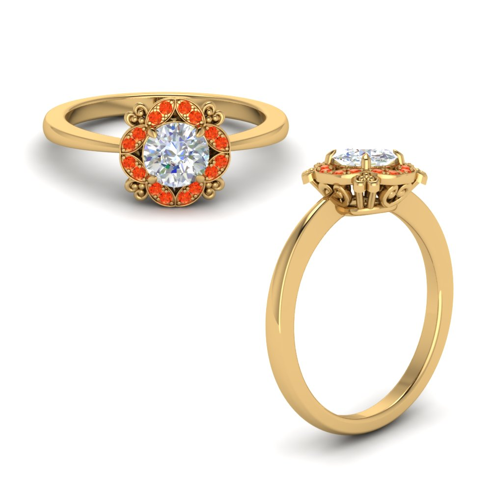 art deco petite engagement ring with orange topaz in 14K yellow gold FD72000RORGPOTOANGLE1 NL YG