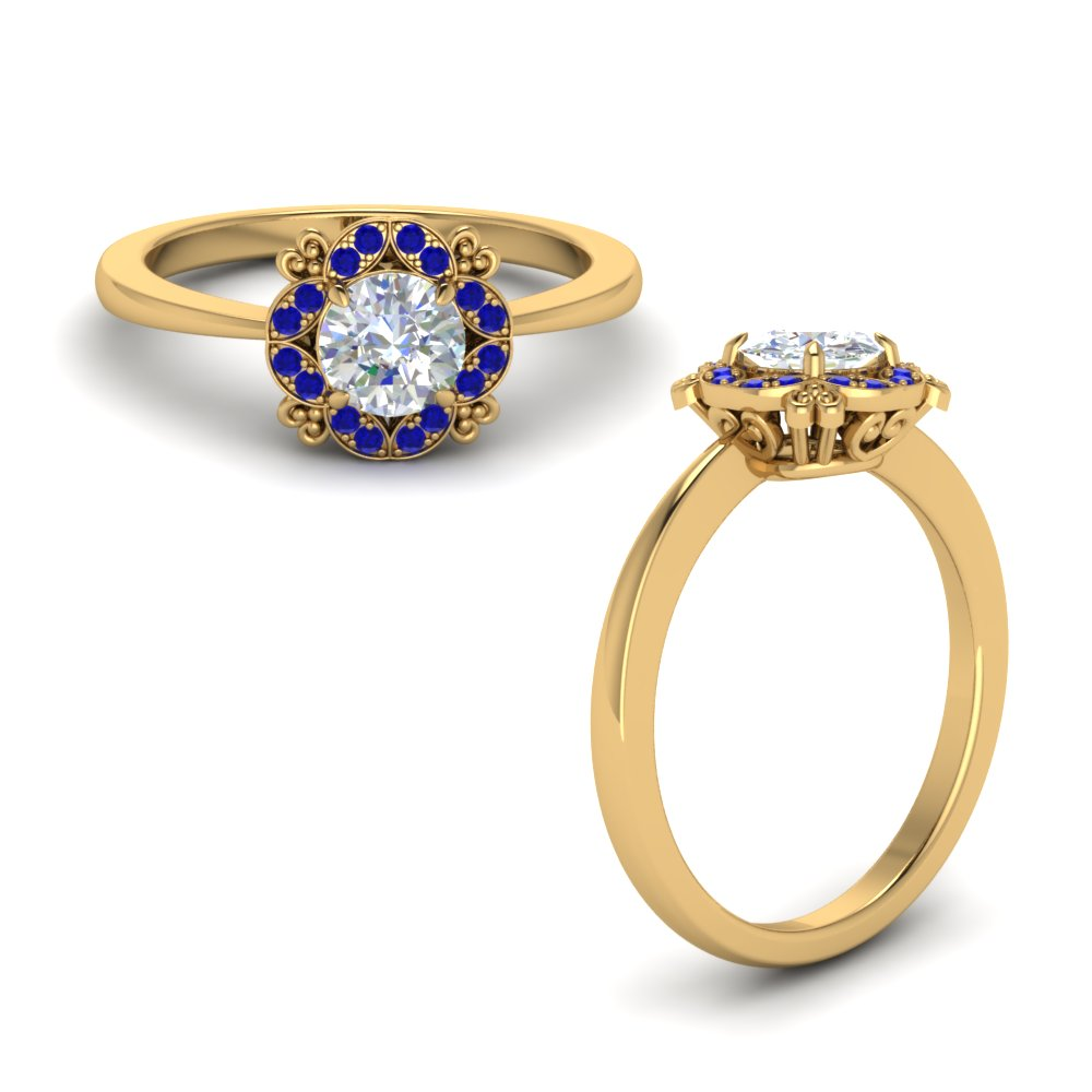 art deco petite engagement ring with sapphire in 14K yellow gold FD72000RORGSABLANGLE1 NL YG