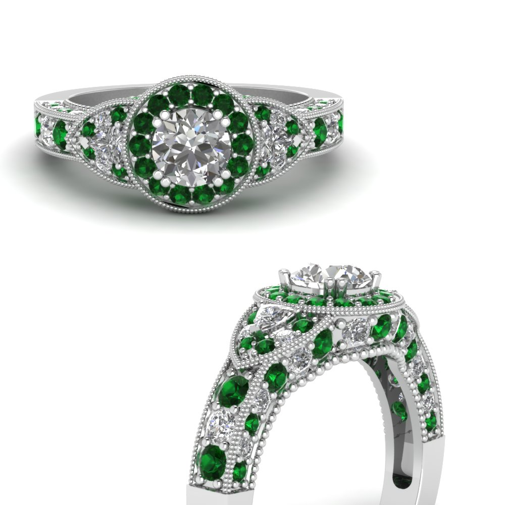 art deco round and trillion diamond engagement ring with emerald in FDENR7780RORGEMGRANGLE3 NL WG.jpg