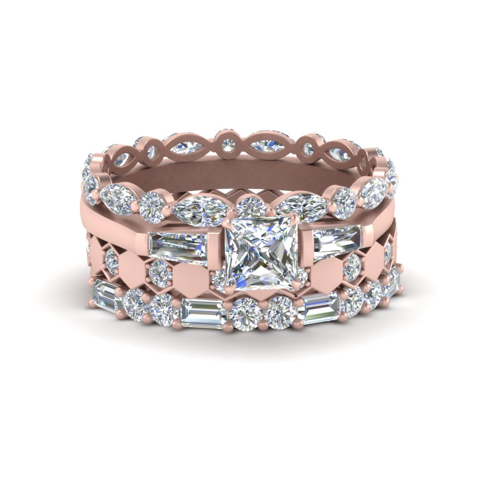 art deco stack band with diamonds in 14K rose gold FD9444ANGLE2 NL RG