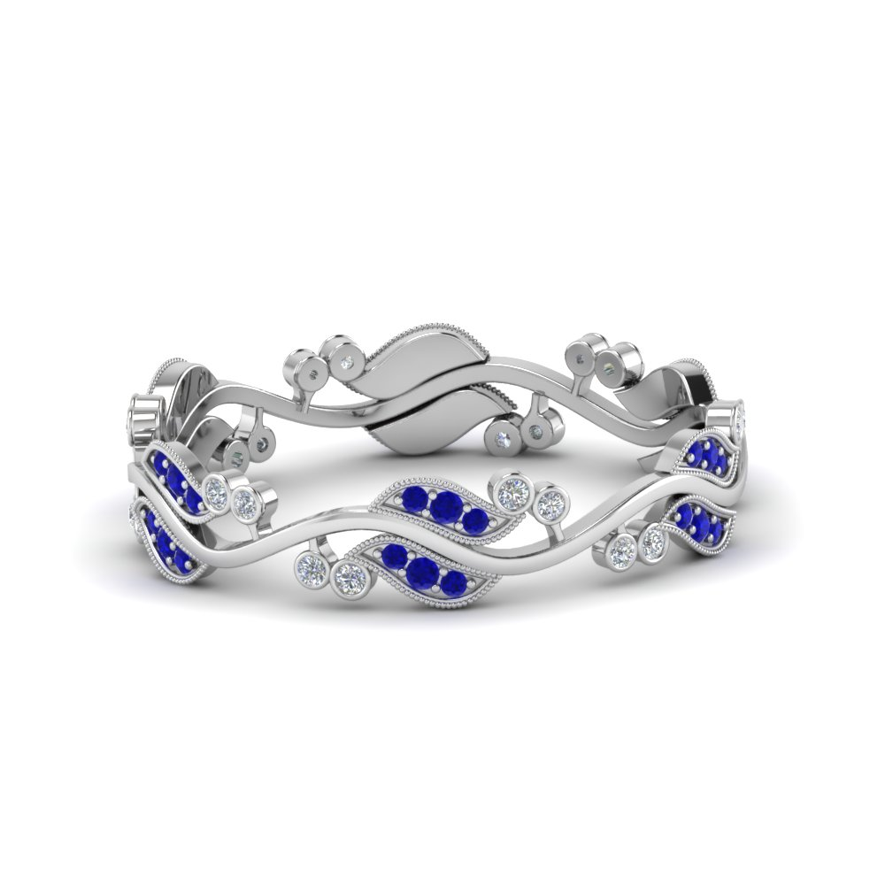 art nouveau diamond anniversary band with sapphire in 14K white gold FDEWB8346BGSABL NL WG