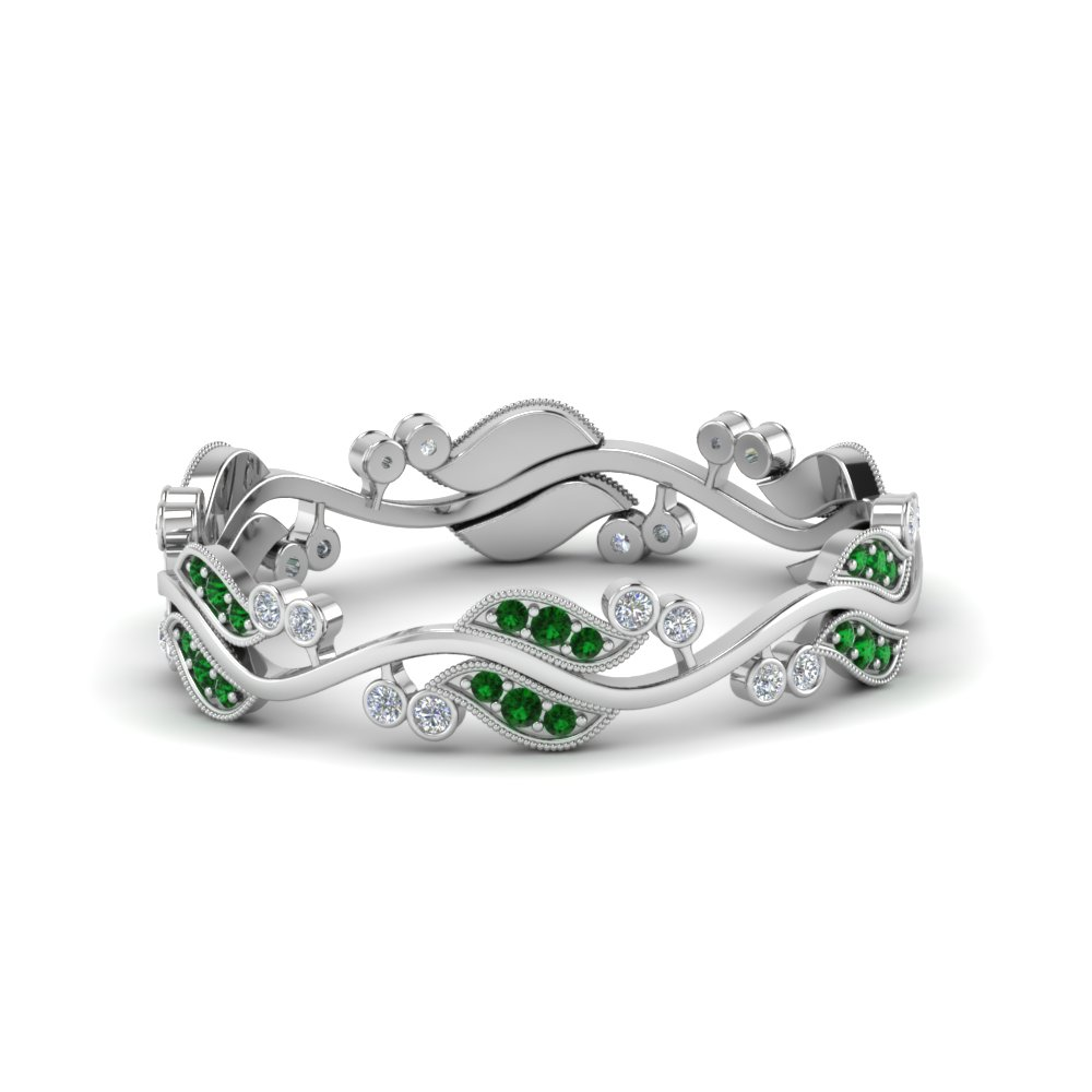 art nouveau diamond anniversary band with emerald in 950 Platinum FDEWB8346BGEMGR NL WG