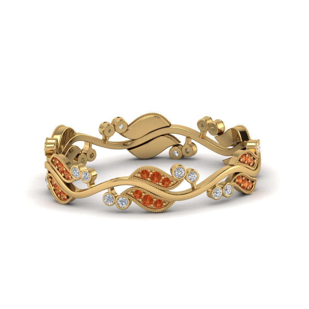 Art Nouveau Diamond Anniversary Band With Orange Sapphire In 14K Yellow Gold