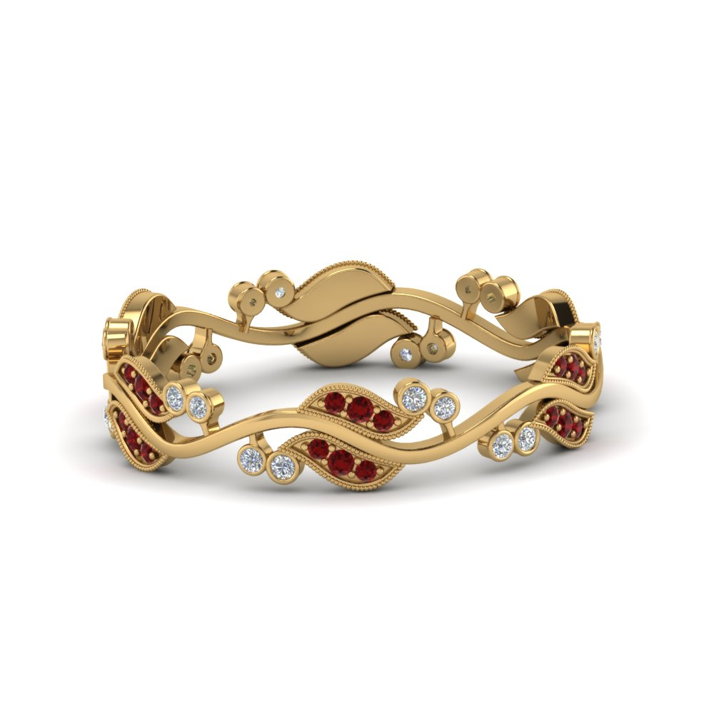 art nouveau diamond anniversary band with ruby in 18K yellow gold FDEWB8346BGRUDR NL YG