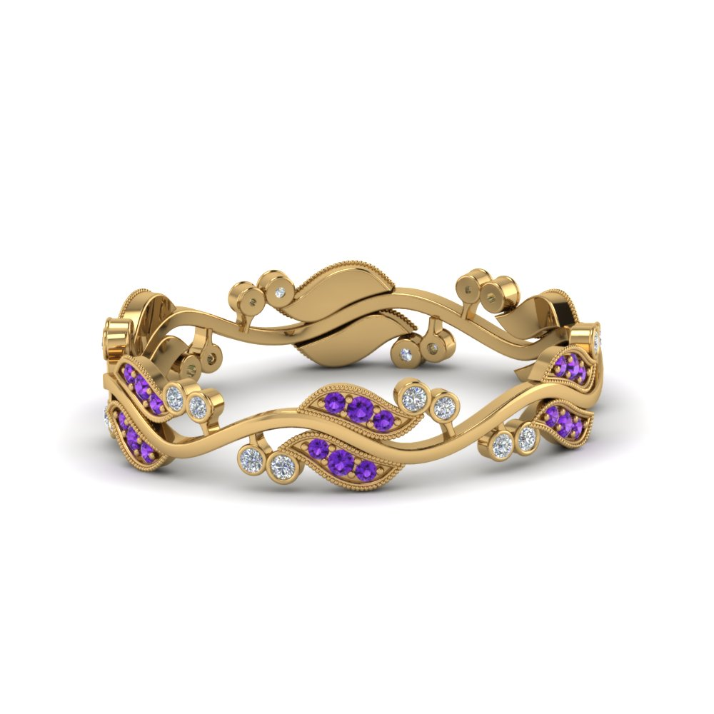 art nouveau diamond anniversary band with violet topaz in 14K yellow gold FDEWB8346BGVITO NL YG