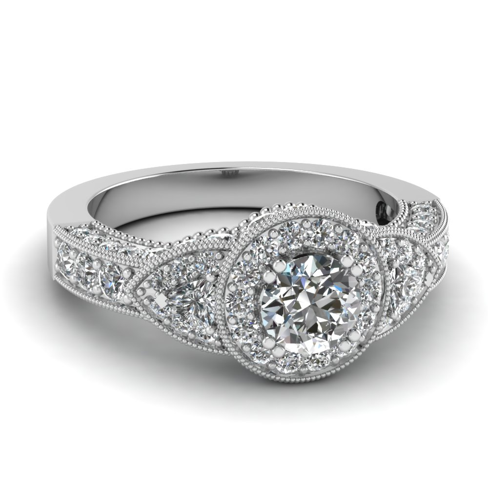 art deco round and trillion diamond vintage engagement ring in 14K white gold FDENR7780ROR NL WG