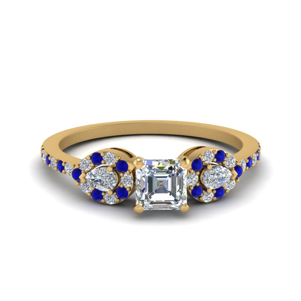 Asscher 3 Stone Diamond Halo Engagement Ring With Sapphire In 14K Yellow Gold